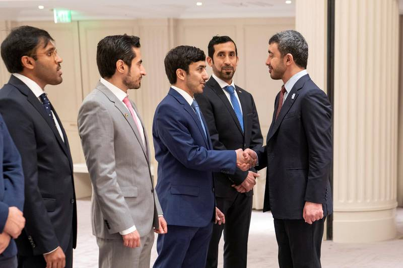 BERLIN, GERMANY - June 12, 2019: HH Sheikh Abdullah bin Zayed Al Nahyan UAE Minister of Foreign Affairs and International Cooperation (R), greets Emirati students who are studying in Germany.  (Eissa Al Hammadi / For the Ministry of Presidential Affairs )