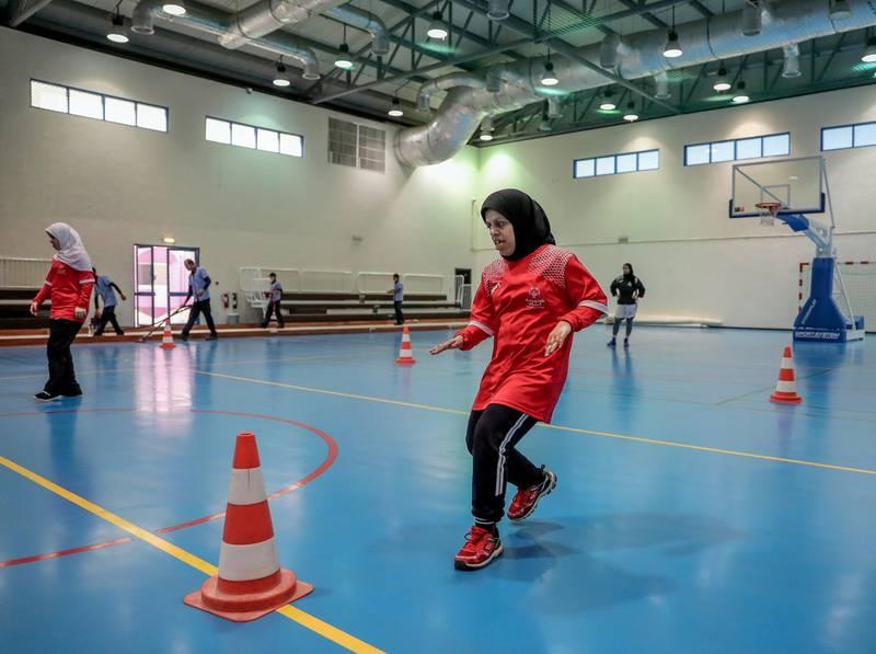 Al Ain, UAE, March 8, 2018.  UAE Special Olympics team training sessions.  UAE Women's basketball. Doing speed drills.Victor Besa / The NationalNationalReporter; Ramola Talwar