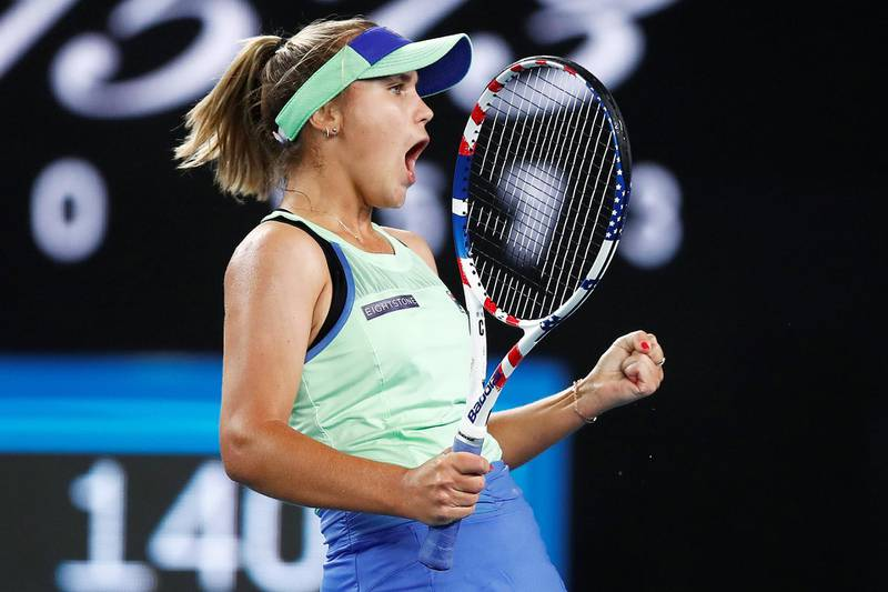MELBOURNE, AUSTRALIA - JANUARY 24:  Sofia Kenin of the United States celebrates after winning a point in her third round match against Shuai Zhang of China on day five of the 2020 Australian Open at Melbourne Park on January 24, 2020 in Melbourne, Australia. (Photo by Daniel Pockett/Getty Images)