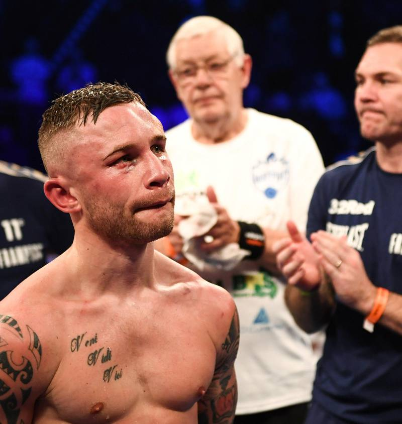 Manchester , United Kingdom - 22 December 2018; A dejected Carl Frampton following his defeat to Josh Warrington in their IBF World Featherweight title bout at the Manchester Arena in Manchester, England. (Photo By David Fitzgerald/Sportsfile via Getty Images)