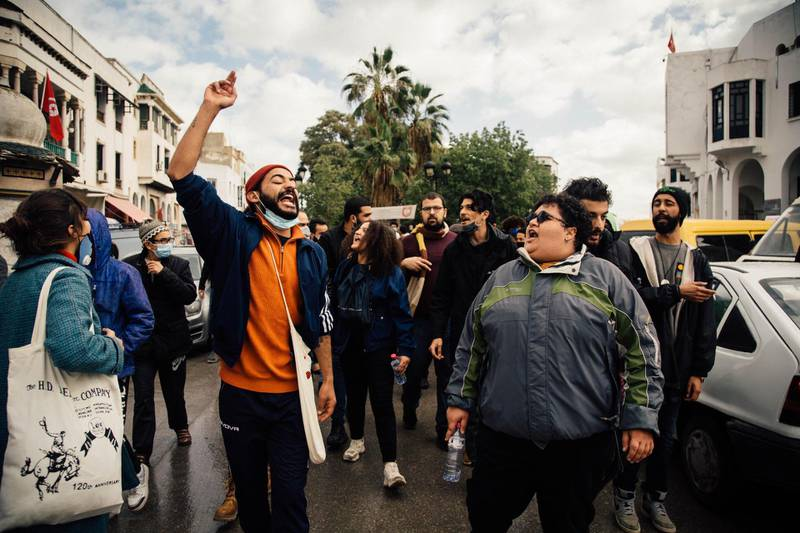 Anti-government protests in downtown Tunis, Monday, January 18, 2021. Erin Clare Brown / The National