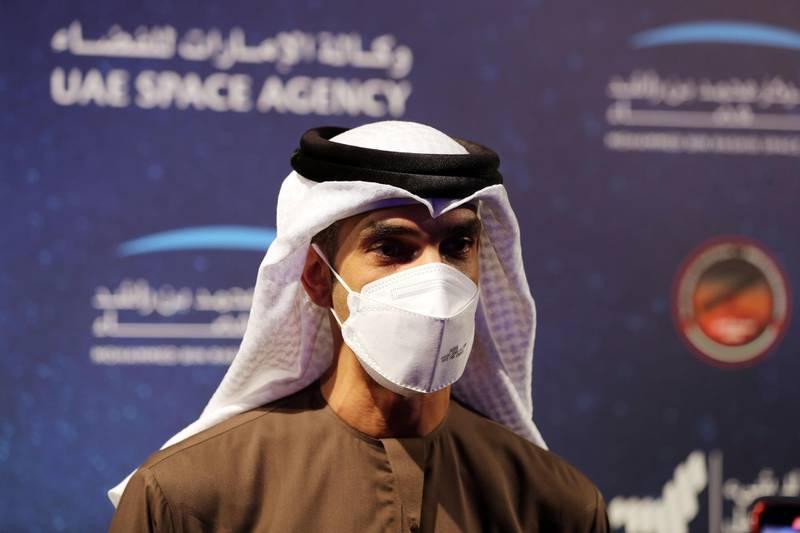Dubai, United Arab Emirates - Reporter: Sarwat Nasir. News. Mars Mission. HE Dr Thani Al Zeyoudi attends an event at Burj Park to celebrate the Hope probe going into orbit around Mars. Tuesday, February 9th, 2021. Dubai. Chris Whiteoak / The National