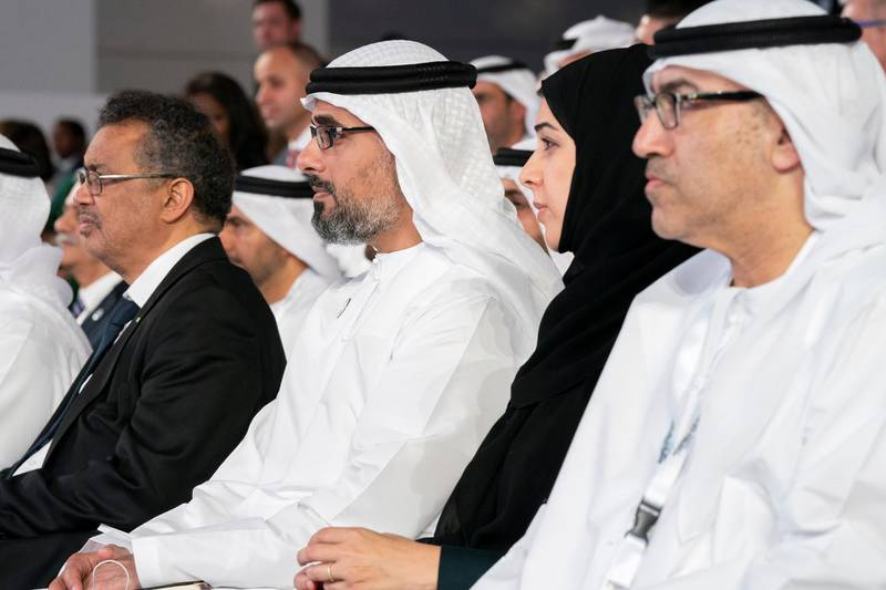 SAADIYAT ISLAND, ABU DHABI, UNITED ARAB EMIRATES - November 19, 2019: (L-R) HE Abdul Rahman Mohamed Al Owais, UAE Minister of Health and Prevention, HE Reem Ibrahim Al Hashimi, UAE Minister of State for International Cooperation, HH Major General Sheikh Khaled bin Mohamed bin Zayed Al Nahyan, Deputy National Security Adviser,member of theAbu Dhabi Executive CouncilandChairman of Abu Dhabi Executive Office and Dr Tedros Adhanom Ghebreyesus, Director-General of World Health Organization (WHO), attend the Reaching the Last Mile Forum, at Louvre Abu Dhabi.  ( Hamad Al Mansoori / for the Ministry of Presidential Affairs ) ---