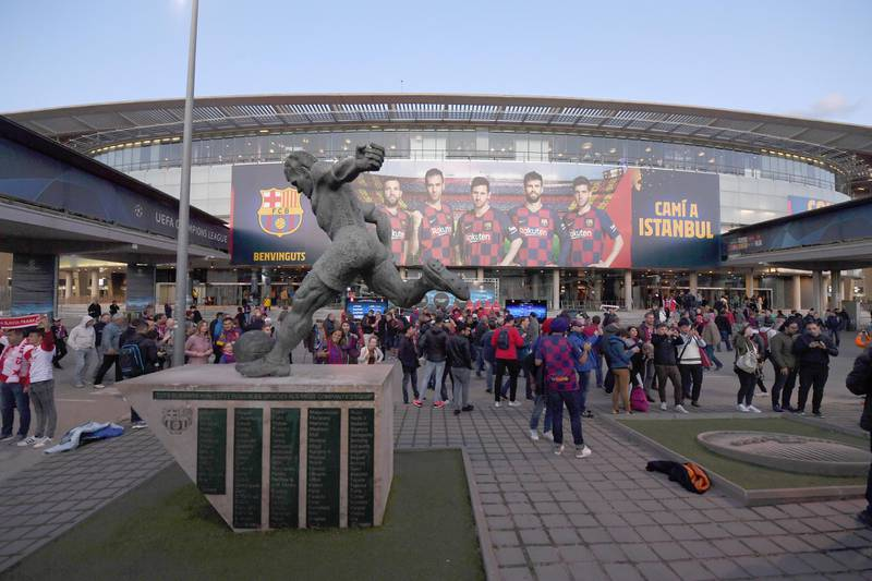 BARCELONA, SPAIN - NOVEMBER 05: A general view outside the stadium as fans enjoy the pre match atmosphere prior to the UEFA Champions League group F match between FC Barcelona and Slavia Praha at Camp Nou on November 05, 2019 in Barcelona, Spain. (Photo by Alex Caparros/Getty Images)