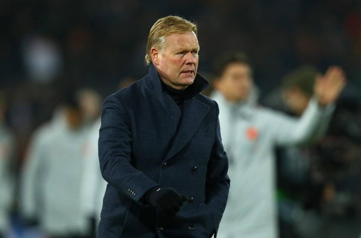 AMSTERDAM, NETHERLANDS - NOVEMBER 16:  Ronald Koeman, Manager of the Netherlands looks on during the UEFA Nations League Group A match between Netherlands and France at the Stadion Feijenoord on November 16, 2018 in Amsterdam, Netherlands.  (Photo by Dean Mouhtaropoulos/Getty Images)