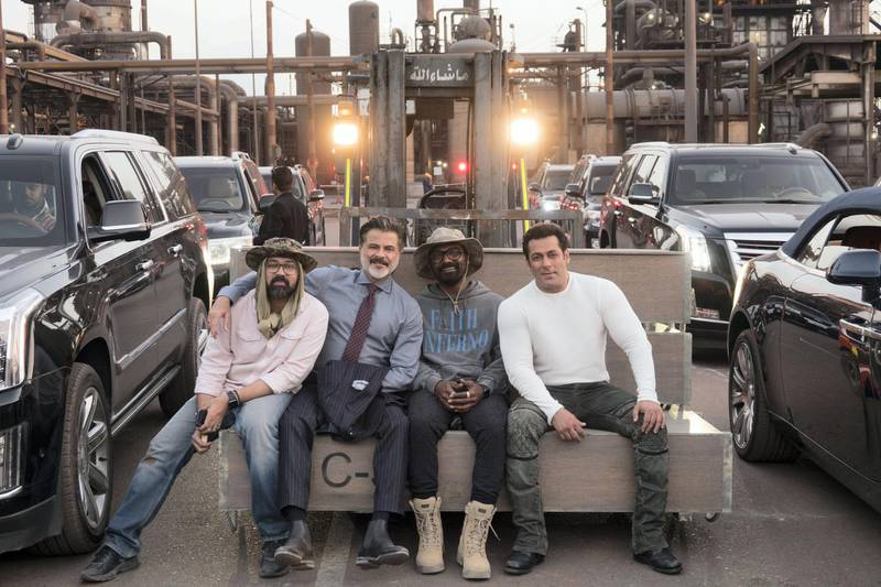 Ayananka Bose, Anil Kapoor, Remo D'Souza, and Salman Khan at Emirates Steel factory while shooting 'Race 3'. Courtesy twofour54