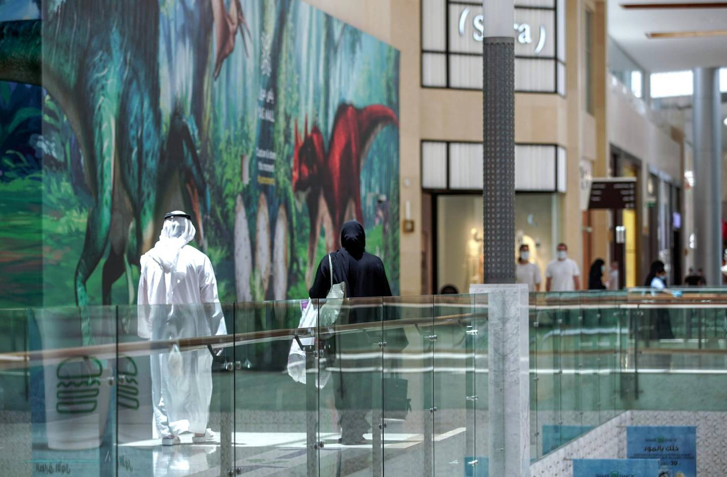 Abu Dhabi, United Arab Emirates, May 9, 2020.  Yas Mall, Abu Dhabi will be open from noon to 9pm. Supermarkets and pharmacies will be open from 9am to midnight.  Mall shoppers during the Coronavirus pandemic.Victor Besa/The NationalSection:  NAReporter:
