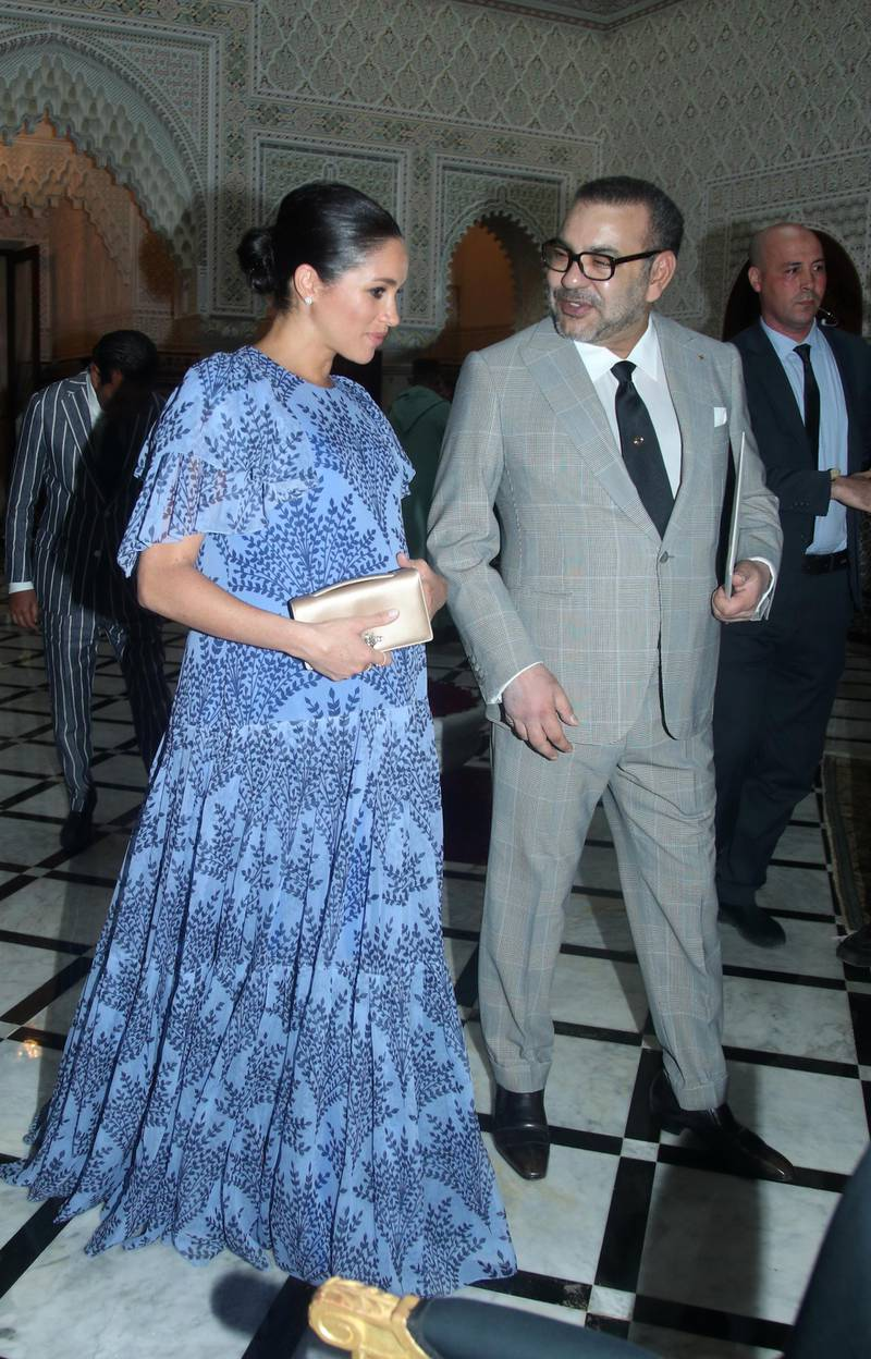 RABAT, MOROCCO - FEBRUARY 25:  Meghan, Duchess of Sussex with King Mohammed VI of Morocco, during an audience at his residence on February 25, 2019 in Rabat, Morocco. (Photo by Yui Mok - Pool / Getty Images)