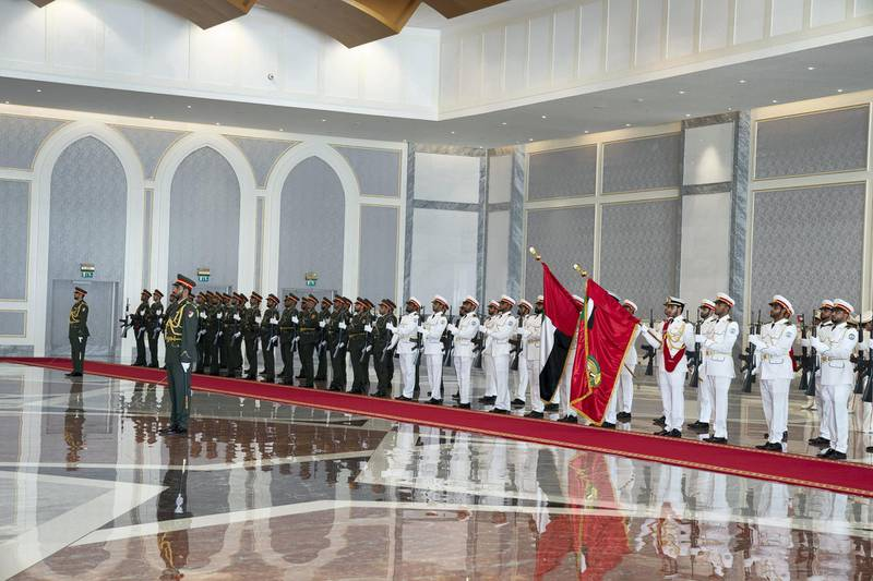 ABU DHABI, UNITED ARAB EMIRATES - July 13, 2018: The UAE Armed Forces Honour Guard participate in a reception for HE Cyril Ramaphosa, President of South Africa (not shown), at the Presidential Airport.   ( Mohamed Al Hammadi / Crown Prince Court - Abu Dhabi ) ---