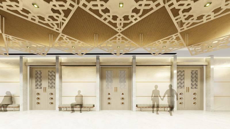 Rendering of ground floor banquet hall, The Hindu Temple, Jebel Ali. Courtesy Hindu Temple, Jebel Ali