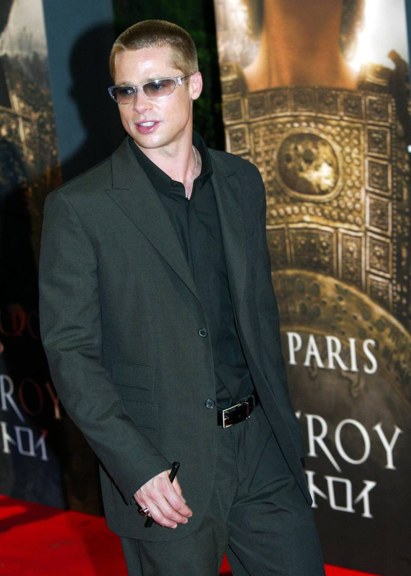 """TOKYO, JAPAN - MAY 17:  Actor Brad Pitt attends the Japanese premiere of """"Troy"""" at Nippon Budokan on May 17, 2004 in Tokyo. (Photo by Koichi Kamoshida/Getty Images)"""