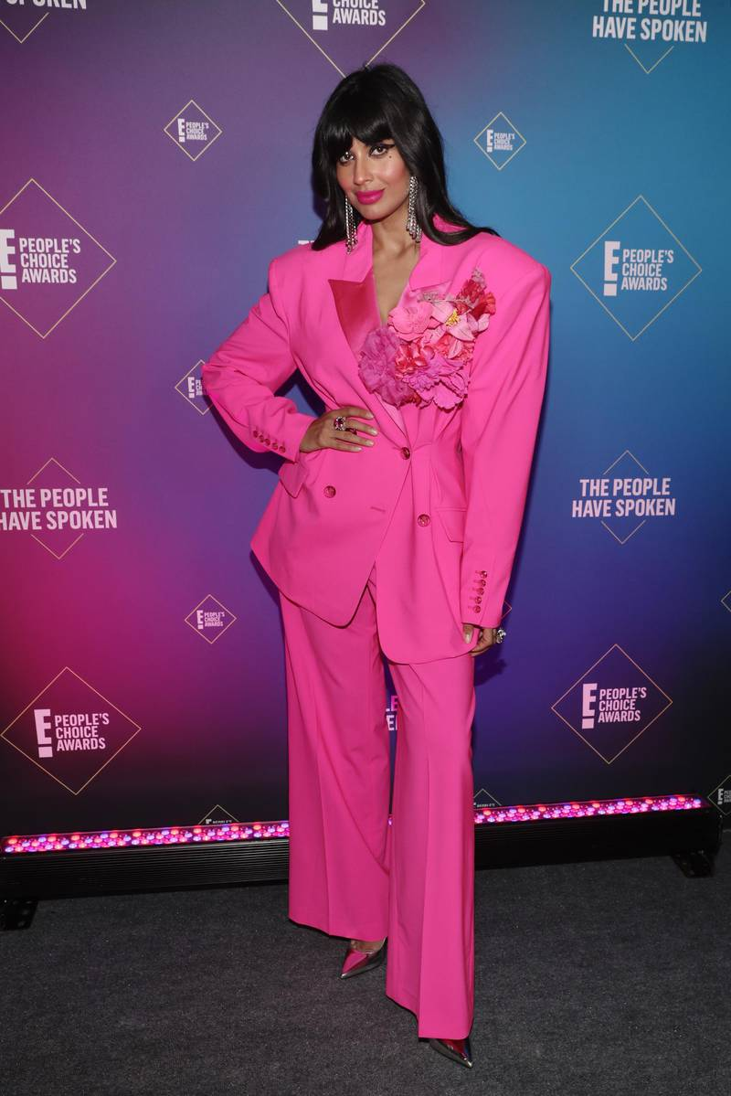 SANTA MONICA, CALIFORNIA - NOVEMBER 15: 2020 E! PEOPLE'S CHOICE AWARDS -- In this image released on November 15, Jameela Jamil attends the 2020 E! People's Choice Awards held at the Barker Hangar in Santa Monica, California and on broadcast on Sunday, November 15, 2020. (Photo by Todd Williamson/E! Entertainment/NBCU Photo Bank via Getty Images)