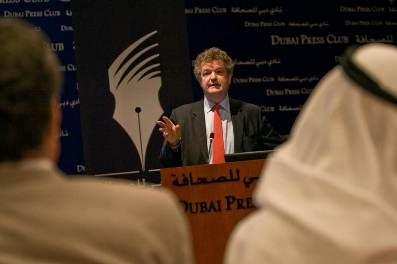 United Arab Emirates - Dubai - Feb. 26, 2009: Francis Matthew, Gulf News editor-at-large, gives a speech on media industry changes at the Dubai Press Club on Thursday, Feb. 26, 2009. Amy Leang/The National    *** Local Caption ***  al_022609_matthew_01.jpgal_022609_matthew_01.jpg