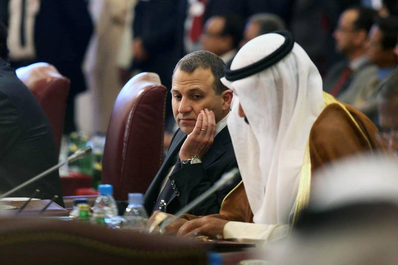 Lebanese Foreign Minister Gebran Bassil (C) attends the opening session of the Arab League Foreign Ministers' meeting in Kuwait City on March 23, 2014 ahead of the annual Arab League summit. The Arab League, whose annual summit opens in Kuwait on March 25, represents over 370 million people in 22 countries, including Syria which was suspended in 2011 over its brutal response to protests. AFP PHOTO/YASSER AL-ZAYYAT (Photo by YASSER AL-ZAYYAT / AFP)