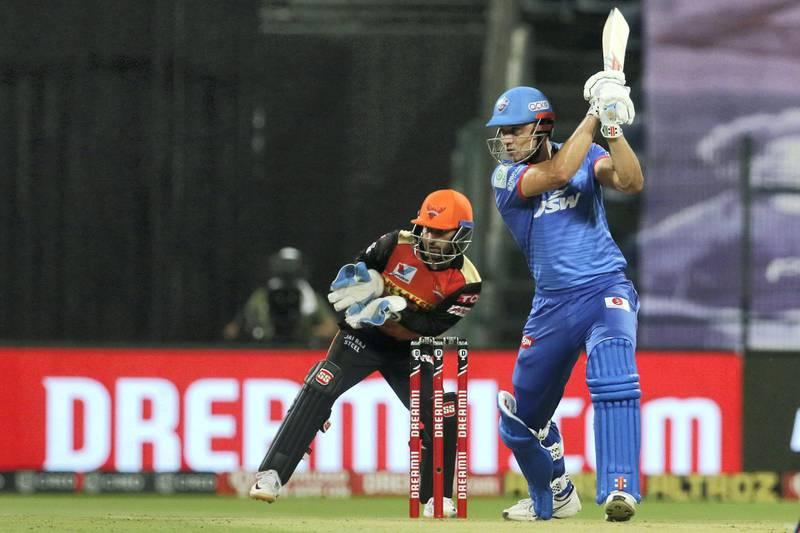 Marcus Stoinis of Delhi Capitals  plays a shot during the qualifier 2 match of season 13 of the Dream 11 Indian Premier League (IPL) between the Delhi Capitals and the Sunrisers Hyderabad at the Sheikh Zayed Stadium, Abu Dhabi in the United Arab Emirates on the 8th November 2020.  Photo by: Vipin Pawar  / Sportzpics for BCCI