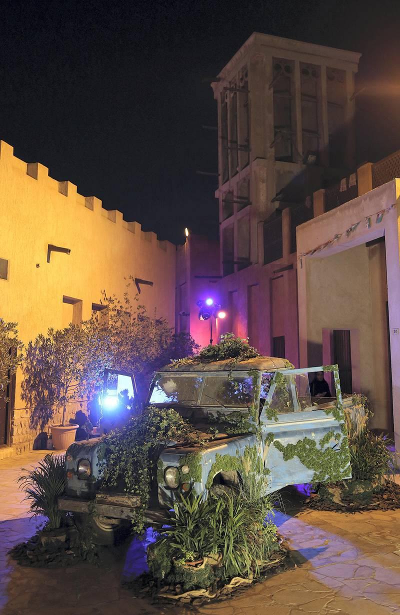 Dubai, March 20, 2018: Emirati artist Mohammed Alolama's  art of an old Land Rover at the Sikka Art fair at Al Fahidi Historical District in Dubai. Satish Kumar for the National