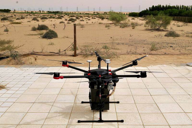 DUBAI, UNITED ARAB EMIRATES , March 16, 2021 – Cafu is using drones to plant 1 million Ghaf seeds in the UAE giving live demo at the Sanad Academy, Skyhub RC Club in Dubai. (Pawan Singh / The National) For News/Online/Instagram/Big Picture. Story by Patrick