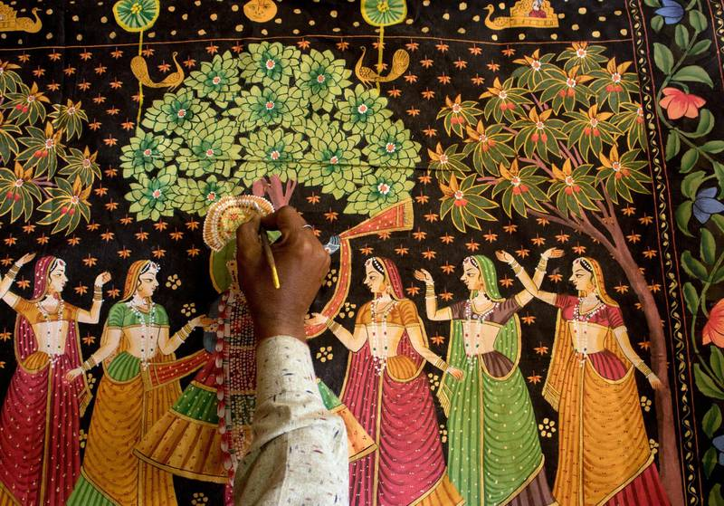 A 4X4 feet folk painting sells for as little as $60. Courtesy: Sanket Jain