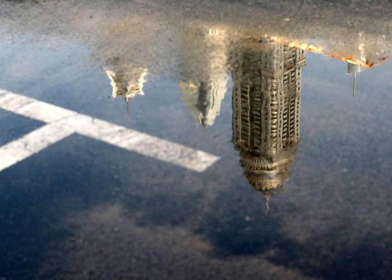 Dubai, United Arab Emirates - Reporter: N/A. News. Weather. A reflection of marina after the rain came down in Dubai. Sunday, November 8th, 2020. Dubai. Chris Whiteoak / The National