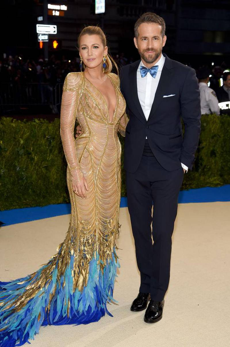 Celebrities dressed in Versace at the Met Gala  *** Local Caption ***  Blake Lively and Ryan Reynolds.jpg