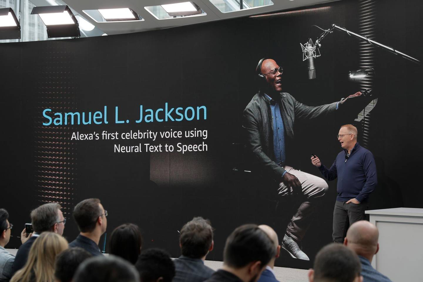 Dave Limp, senior vice president for Amazon devices & services, talks about new celebrity voices, including actor Samuel L. Jackson, that will be made available on the tech company's Alexa devices, Wednesday, Sept. 25, 2019, during an event in Seattle. (AP Photo/Ted S. Warren)