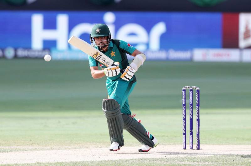 DUBAI , UNITED ARAB EMIRATES, September 19 , 2018 :- Babar Azam of Pakistan playing a shot during the Asia Cup UAE 2018 cricket match between Pakistan vs India held at Dubai International Cricket Stadium in Dubai. ( Pawan Singh / The National )  For Sports. Story by Paul