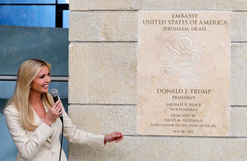 epaselect epa06735798 White House senior advisor Ivanka Trump speaks during the opening ceremony at the US consulate that will act as the new US embassy in the Jewish neighborhood of Arnona, in Jerusalem, Israel, 14 May 2018. The US Embassy in Jerusalem is inaugurated on 14 May following its controversial move from Tel Aviv to the existing US consulate building in Jerusalem. US President Trump in December 2017 recognized Jerusalem as Israel's capital. The decision, condemned by Palestinians who claim East Jerusalem as the capital of a future state, prompted worldwide protests and was met with widespread international criticism.  EPA/ABIR SULTAN