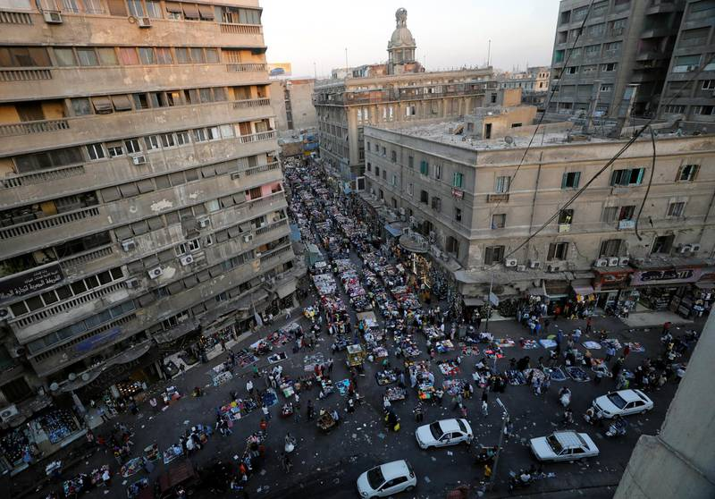 A view shows a crowd and shops at Al Ataba market, following the coronavirus disease (COVID-19) outbreak, in Cairo, Egypt July 16, 2020. REUTERS/Mohamed Abd El Ghany
