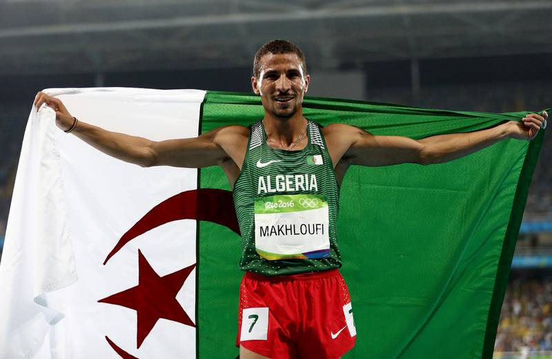 RIO DE JANEIRO, BRAZIL - AUGUST 20:  Taoufik Makhloufi of Algeria celebrates after winning silver in the Men's 1500 meter Final on Day 15 of the Rio 2016 Olympic Games at the Olympic Stadium on August 20, 2016 in Rio de Janeiro, Brazil.  (Photo by Patrick Smith/Getty Images)