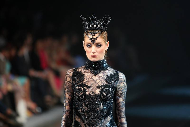 DUBAI , UNITED ARAB EMIRATES Ð April 27 , 2013 : Model taking part in the show of Michael Cinco , fashion designer at Madinat Jumeirah in Dubai. ( Pawan Singh / The National ) For Arts & Life. Story by James Gabrillo