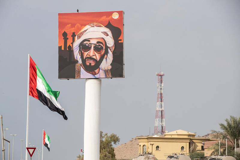 DUBAI UNITED ARAB EMIRATES. 19 NOVEMBER 2020. Rashid Al Shehhi, an Emirati decorated his home village of Ghalilah in Ras Al Khaimah with flags and pictures of the UAE leaders. For a story about the preparations to celebrate the UAE National Day. (Photo: Antonie Robertson/The National) Journalist: Ruba Haza. Section: National.