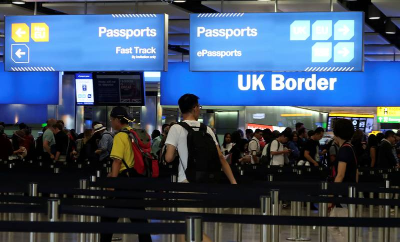 UK Border control is seen in Terminal 2 at Heathrow Airport in London, Britain, July 30, 2017.   REUTERS/Fabrizio Bensch