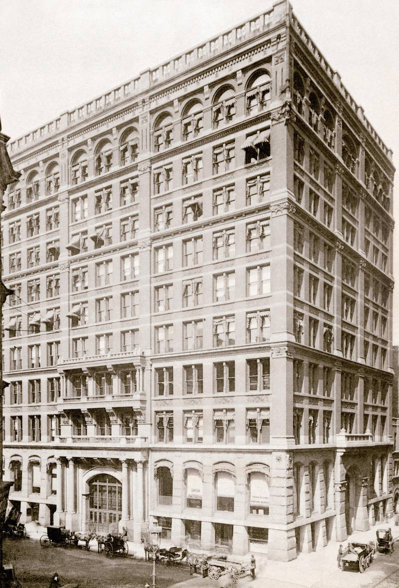 Home Insurance Building on LaSalle and Adams streets, Chicago, 1890s. Albertype reproduction of a photograph (North Wind Picture Archives via AP Images)