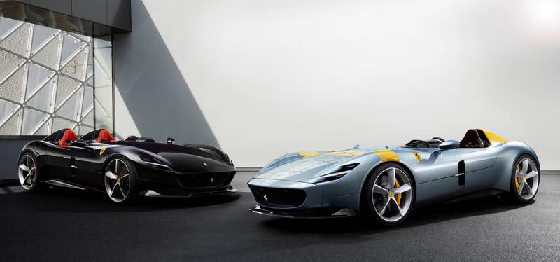 Ferrari's new Monza SP1 and SP2 cars are seen in this picture released by Ferrari press office during a meeting in Maranello, Italy,  September 18, 2018. Picture taken July 29, 2018. Ferrari Press Office/Handout via REUTERS   ATTENTION EDITORS - THIS IMAGE WAS PROVIDED BY A THIRD PARTY. NO RESALES. NO ARCHIVES.      TPX IMAGES OF THE DAY