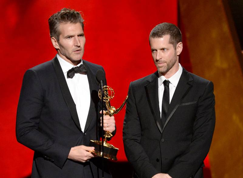 """FILE - In this Sept. 20, 2015 file photo, David Benioff, left, and D.B. Weiss accept the award for outstanding writing for a drama series for """"Game Of Thrones"""" at the 67th Primetime Emmy Awards in Los Angeles. Benioff and Weiss are writing and producing a new series of Star Wars films for Lucasfilm. The Walt Disney Studios said Tuesday that the films will be separate from both the Skywalker saga and the new trilogy being planned by """"The Last Jedi"""" director Rian Johnson. (Photo by Phil McCarten/Invision/AP, File)"""