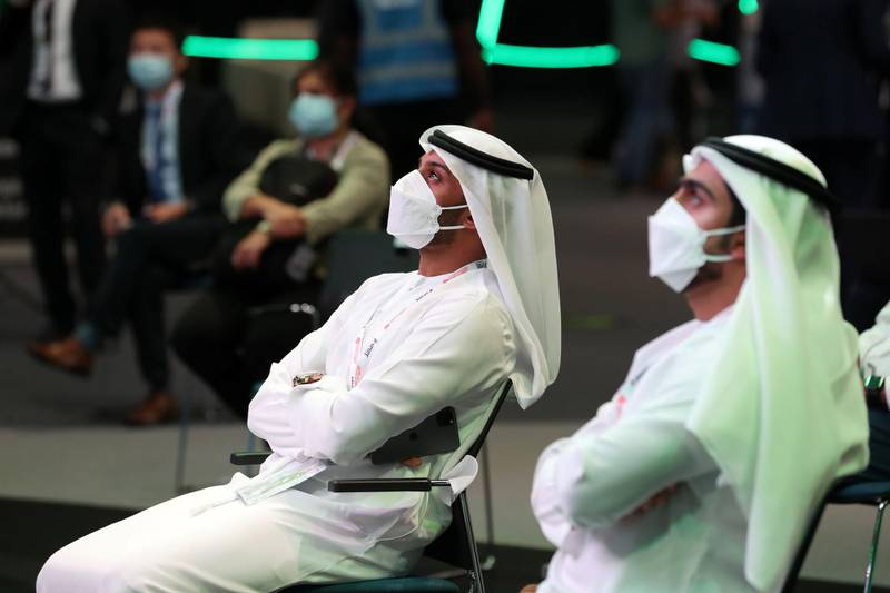 People visit GISEC at the World Trade Centre in Dubai on May 31st, 2021. Chris Whiteoak / The National.  Reporter: Kelly Clark for News
