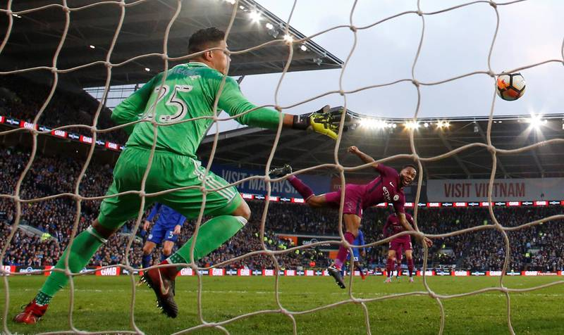 Soccer Football - FA Cup Fourth Round - Cardiff City vs Manchester City - Cardiff City Stadium, Cardiff, Britain - January 28, 2018   Manchester City's Raheem Sterling scores their second goal      Action Images via Reuters/Andrew Boyers
