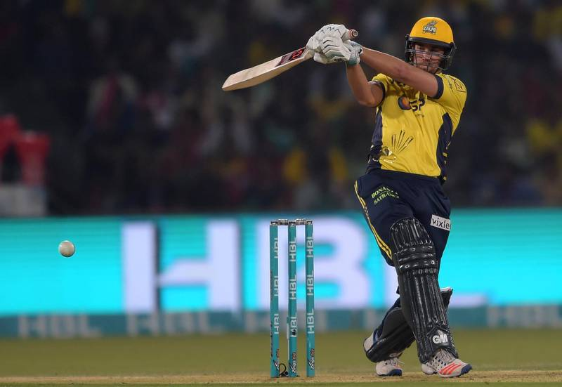 Dawid Malan of Peshawar Zalmi plays a shot during the final cricket match of the Pakistan Super League (PSL) between Quetta Gladiators and Peshawar Zalmi at The Gaddafi Cricket Stadium in Lahore on March 5, 2017. (Photo by AAMIR QURESHI / AFP)