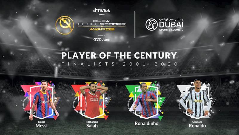 Player of the Century - Finalists 2001-2020. courtesy: Dubai Globe Soccer Awards.
