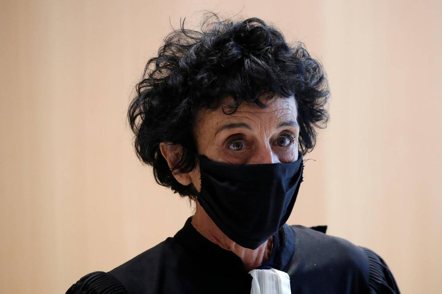 Isabelle Coutant-Peyre, lawyer for one of the defendant Ali Riza Polat, leaves the courtroom during a break on the opening day of the trial of the January 2015 Paris attacks against Charlie Hebdo satirical weekly, a policewoman in Montrouge and the Hyper Cacher kosher supermarket, at Paris courthouse, France, Steptember 2, 2020. The trial will take place from September 2 to November 10. REUTERS/Charles Platiau