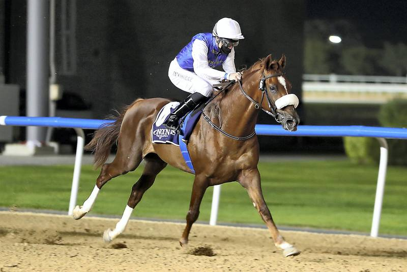 DUBAI , UNITED ARAB EMIRATES , December 17 – 2020 :- Patrick Cosgrave  (no 6 ) guides RB Frynchh Dude (US)  to win the 1st horse race 1900m Dirt at the Meydan Racecourse in Dubai. ( Pawan Singh / The National ) For Sports. Story by Amith