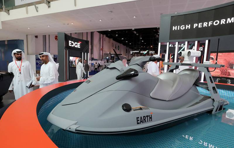 ABU DHABI, UNITED ARAB EMIRATES , Feb 23  – 2020 :- Visitors looking Earth, UGV at the Edge stand on the first day of the UMEX & SimTEX held at Abu Dhabi National Exhibitions Centre in Abu Dhabi. (Pawan  Singh / The National) For News/Online/Instagram.  Story by Kelsey Warner