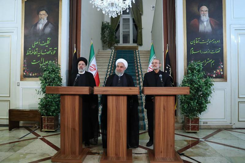 epa07817882 A handout photo made available by the Iranian Presidential office shows Iranian President Hassan Rouhani (C), Iranian judiciary chief Ebrahim Raisi (L), Iranian Parliament Speaker Ali Larijani (R) attending a presentation to announce a statement in Tehran, Iran, 04 September 2019. According to Iranian news reports, Rouhani announced third step of reducing commitments under the 2015 nuclear deal which will take effect on 06 September 2019.  EPA/IRANIAN PRESIDENT OFFICE HANDOUT  HANDOUT EDITORIAL USE ONLY/NO SALES
