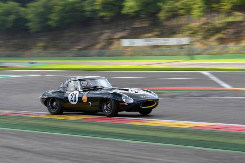 JAGUAR CLASSIC CHALLENGE SEASON SIGNS OFF AT SPA WITH THIRD WIN FOR GRAEME AND JAMES DODD on E-TYPE. Courtesy Jaguar