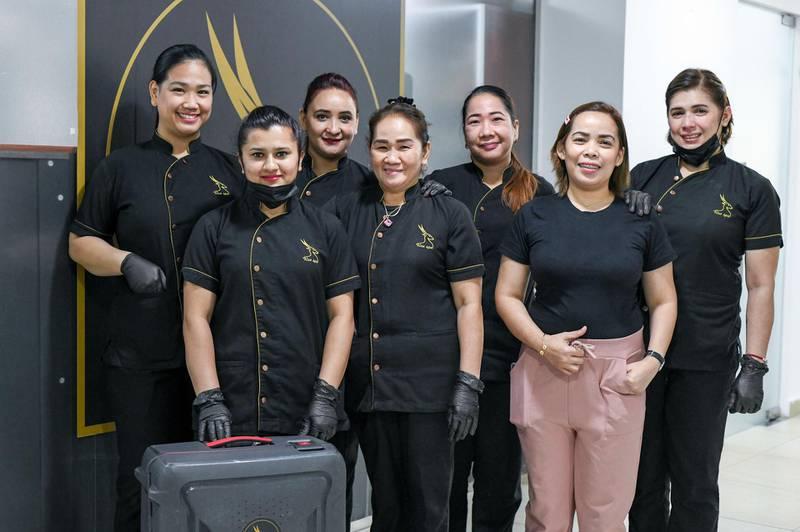 Abu Dhabi, United Arab Emirates - Ladies who work at Roe Spa home service in Tourist Club Area. Khushnum Bhandari for The National
