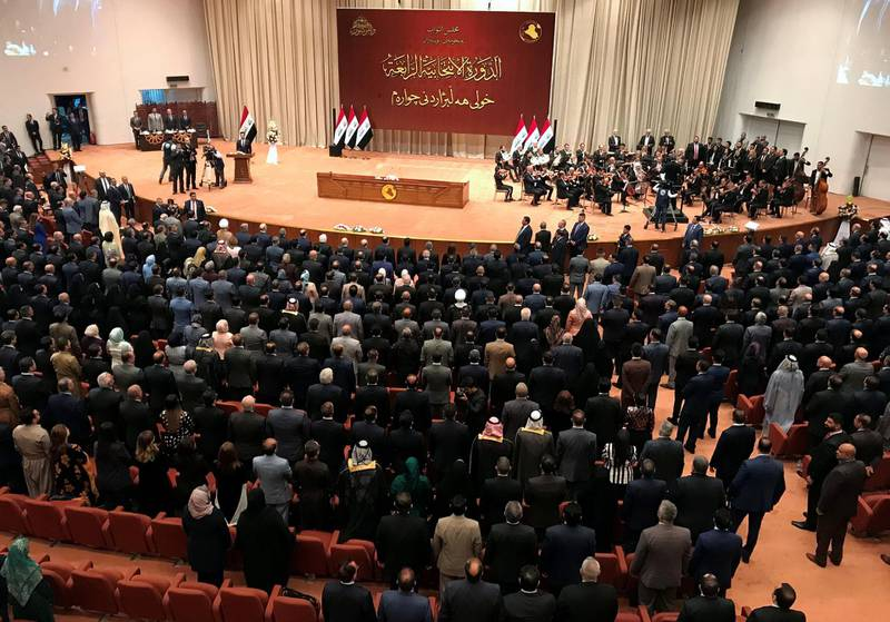 FILE PHOTO: Iraqi lawmakers are seen during the first session of the new Iraqi parliament in Baghdad, Iraq September 3, 2018. REUTERS/Maher Nazeh/File Photo