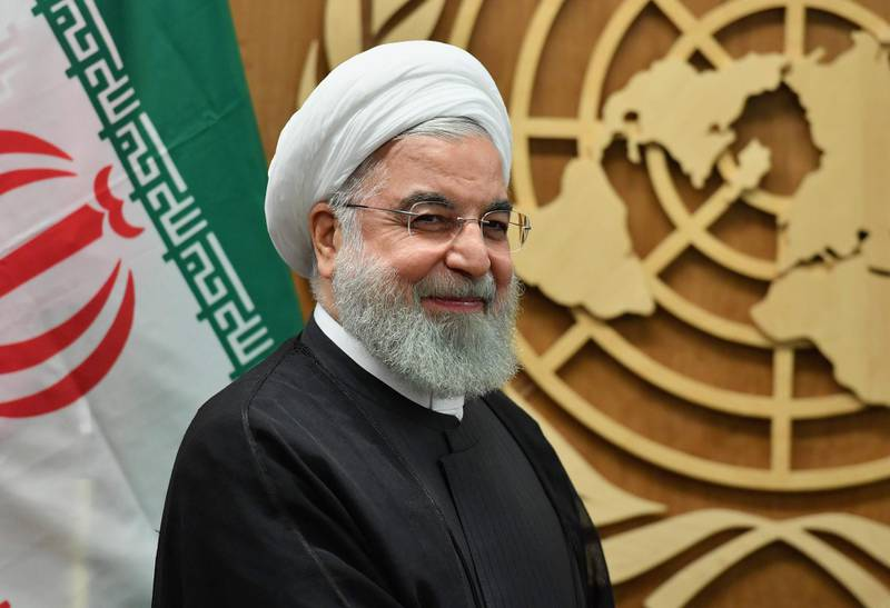 President of Iran Hassan Rouhani meets with United Nations Secretary-General Antonio Guterres (unseen) at the United Nations in New York on September 25, 2019. / AFP / Angela Weiss