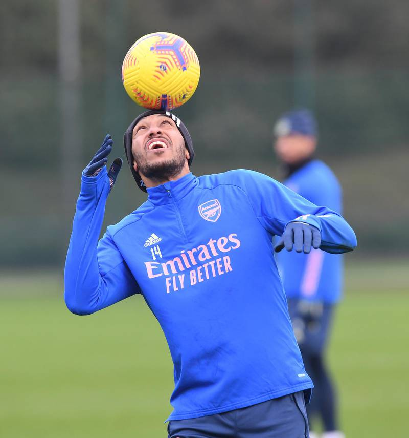 ST ALBANS, ENGLAND - DECEMBER 28: Pierre-Emerick Aubameyang of Arsenal during the Premier League match between Brighton & Hove Albion and Arsenal at London Colney on December 28, 2020 in St Albans, England. (Photo by Stuart MacFarlane/Arsenal FC via Getty Images)