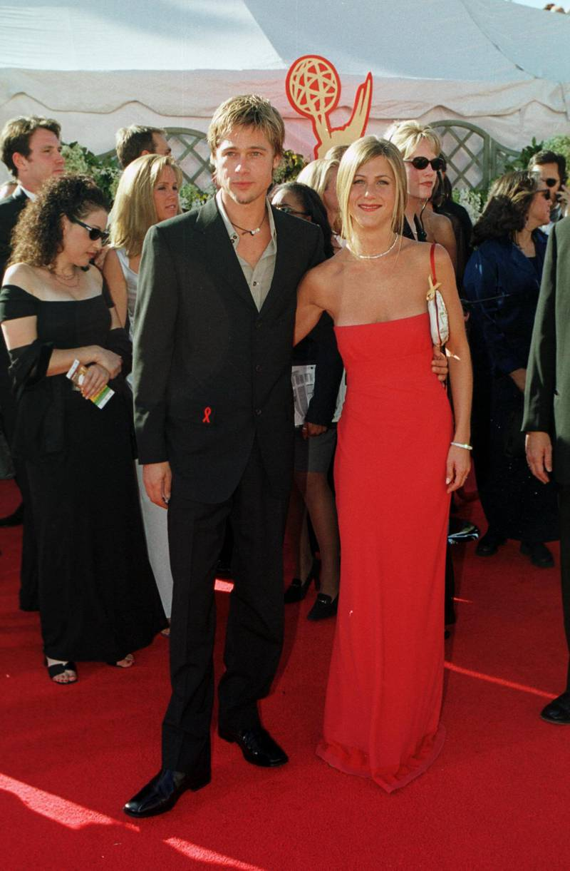 377854 26: Actor Brad Pitt and wife Jennifer Aniston arrive at the 52nd Annual Primetime Emmy Awards September 10, 2000 in Los Angeles, CA. (Photo by Steve W. Grayson/Liaison)
