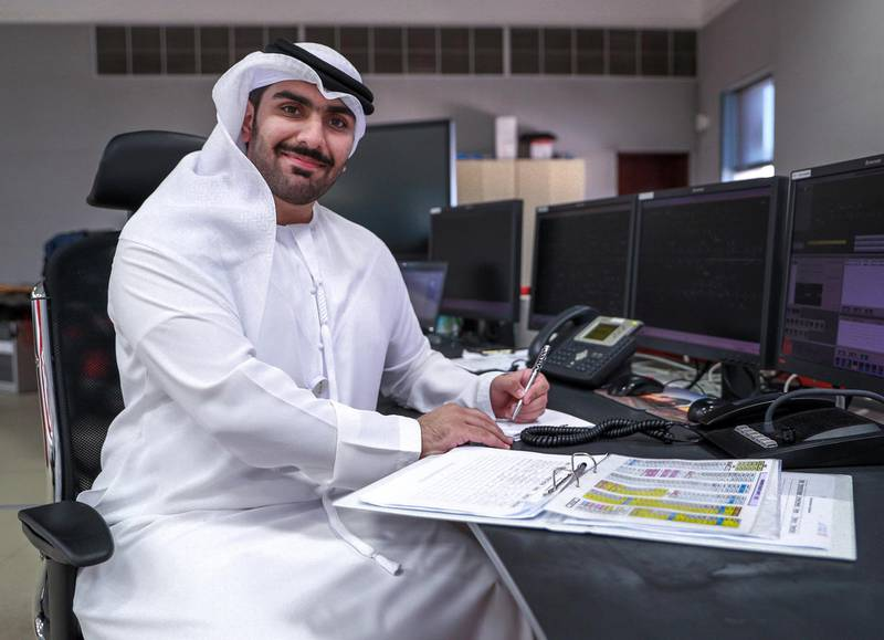 Abu Dhabi, United Arab Emirates, October 28, 2020.  Etihad Rail.  Khalifa Al Hammadi, Train Controller.Victor Besa/The NationalSection:  NAReporter:  Kelly Clarke